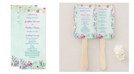 Fiesta themed wedding ceremony programs with lanterns, succulents and cactus available as flat cards or hand fans.