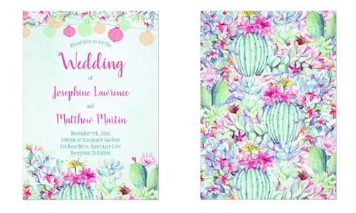 Fiesta wedding invitations with lanterns cactus and succulent foliage. Front and back views. The back has a matching festive cactus and succulents pattern.