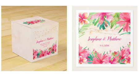 Tropical square wedding favor box and wedding napkins with bride and groom names, wedding date and tropical floral design with string lights.