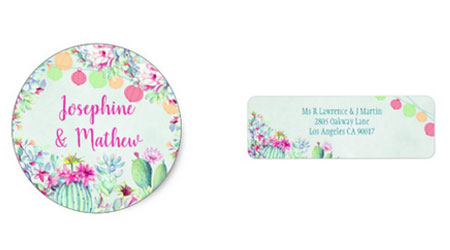 Fiesta wedding stickers and address labels with colorful lanterns, cactus and succulent foliage and flowers.