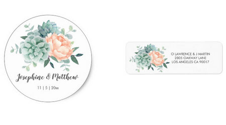 Succulent and peach peony wedding stickers and return address labels with floral watercolor succulent design.