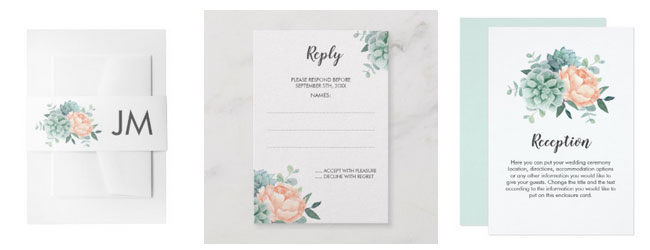 Succulent and peony wedding stationery belly bands, rsvp cards and reception cards.