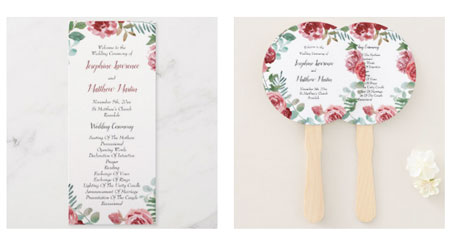Wedding ceremony program double sided flat cards and hand fans with ceremony program text and watercolor design of burgundy roses and green foliage.