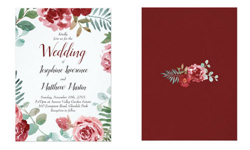 Red rose wedding invitations front and back views with watercolor burgundy red roses and green foliage design.