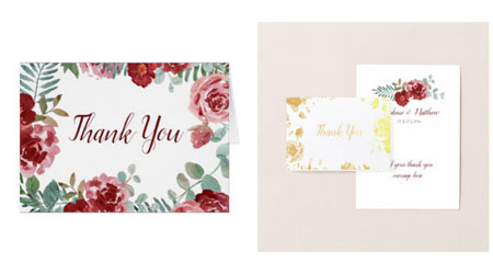 Wedding thank you note cards featuring burgundy roses watcolor design with green foliage. Gold foil on the front of one of the cards.