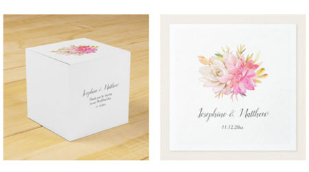 Square wedding favor box and wedding napkins with bride and groom names, wedding date and desert succulents watercolor design.