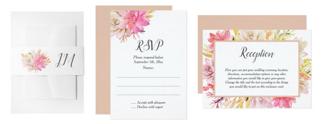 Desert wedding stationery with watercolor succulents design: belly bands, reply card and reception card.