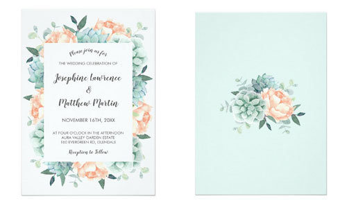 Succulent wedding invitation with peony flowers front and back views.