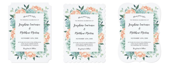 Trim options for succulent invitations showing ticket corners, scallop and bracket edges with succulent and peony floral design.