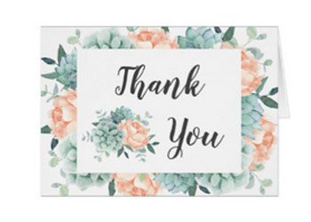 Peach peony and succulents floral wedding thank you note cards personalized.