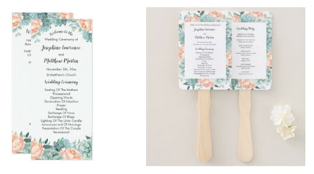 Wedding ceremony programs and fans featuring a watercolor flor design with succulents and peach peonies.