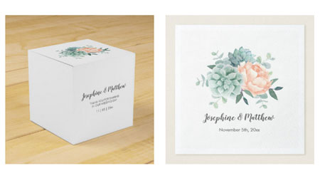 Personalized wedding favor boxes and wedding napkins featuring succulent and peony design.