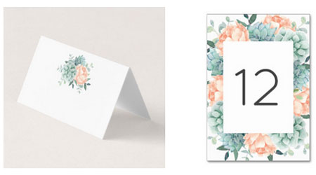 Wedding place cards and table number cards featuring a watercolor succulents and peach peony flower design.