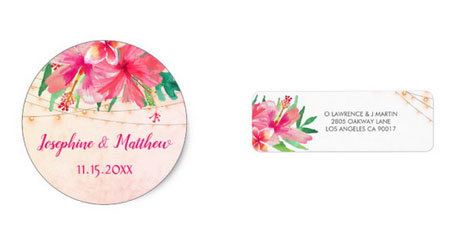 Round wedding stickers and rsvp address labels featuring a tropical hibiscus and string lights watercolor design.