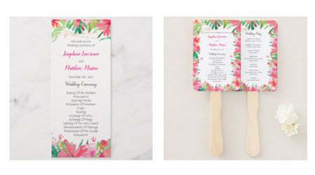 Tropical wedding ceremony program flat cards and double side hand fans featuring a tropical watercolor design with hibiscus, plumeria, green leaves and string lights.