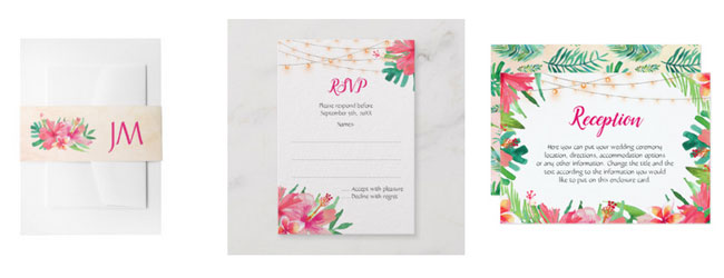 Wedding stationery items belly band, reply card and wedding reception card featuring a tropical floral design with hibiscus, plumeria flowers, foliage and string lights.