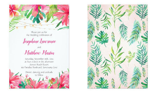 Tropical wedding invitation front and back views with tropical flowers, foliage and string lights.