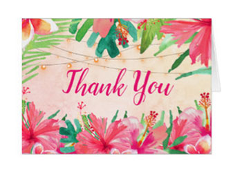 Tropical wedding thank you cards with a tropical watercolor design with flowers, leaves and string lights.