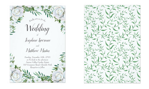 White watercolor rose border wedding invitations with greenery foliage and leaves - front and back views.