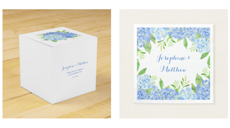 Hydrangea wedding napkins and square wedding favor boxes with watercolor blue hydrangea greenery design.