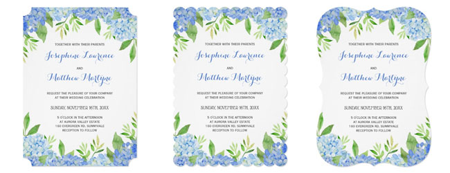Trim options for blue hydrangea and greenery wedding invites available in ticket corners or scallop and bracket edges.