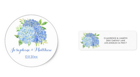 Blue hydrangea and greenery wedding stickers and address labels featuring a watercolor design.