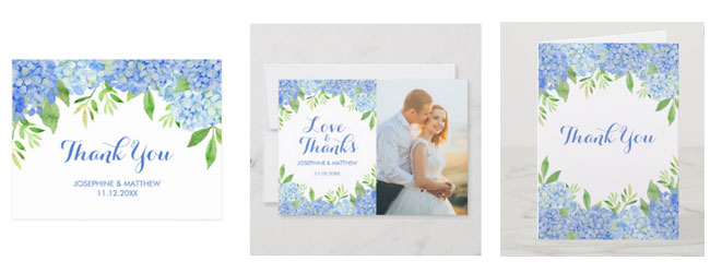 Blue hydrangea and greenery wedding thank you cards in postcard, photo card and folded card formats.
