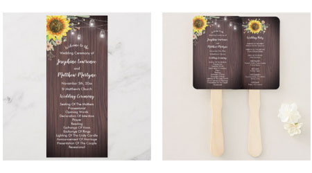 Wedding ceremony programs and program hand fans featuring a rustic sunflower design with wood and mason jars.