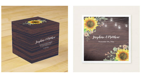 Sunflower wedding napkins and wedding favors featuring a rustic sunflower design with wood background and mason jars.