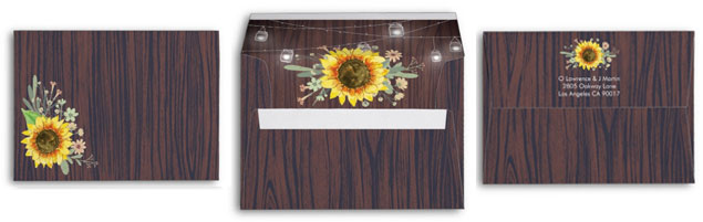 Rustic wood design envelopes with sunflower and mason jars.
