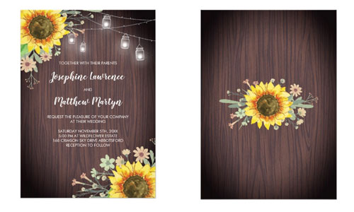 Rustic wedding invitations with watercolor sunflowers, wildflowers, wood and mason jar string lights.