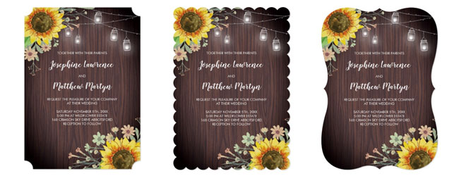 Rustic sunflower and mason jar wedding invitations with ticket, scallop and bracket trim.