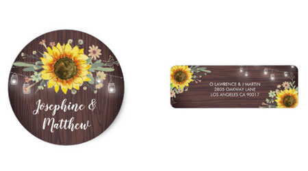Sunflower wedding stickers and address labels with rustic wood and mason jar design.