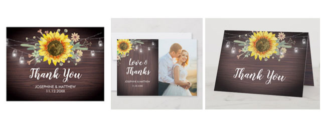 Rustic sunflower thank you card options with sunflower, wood and mason jar lights design.