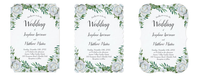 Floral border wedding invitations with trim options.