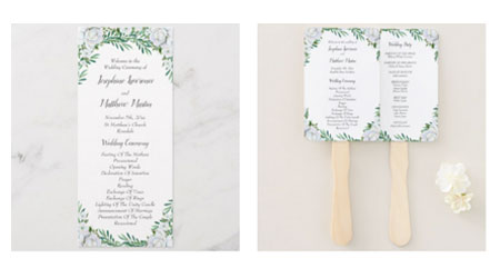 Wedding ceremony programs and wedding program fans with white rose and leaves design.