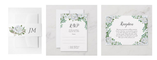 Wedding stationery featuring watercolor white roses and greenery leaves with foliage.