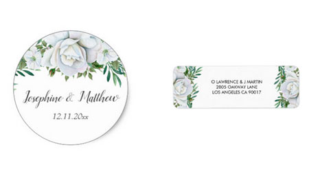 Round envelope or favor seal sticker and return address label featuring watercolor white rose an greenery design.