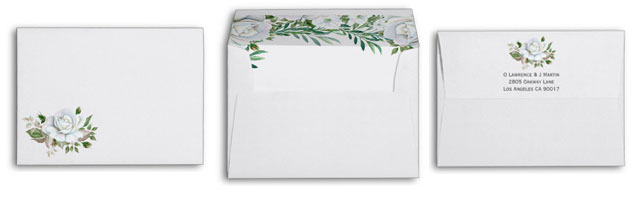 Wedding invitation envelopes with white rose border design with watercolor greenery.